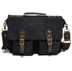 "Leon 15"" Waxed Black Canvas and Leather Satchel Weather Proof Laptop Bag - The Leather Trading Co."