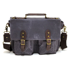 "Leon 15"" Waxed Navy Canvas and Leather Satchel Weather Proof Laptop Bag - The Leather Trading Co."