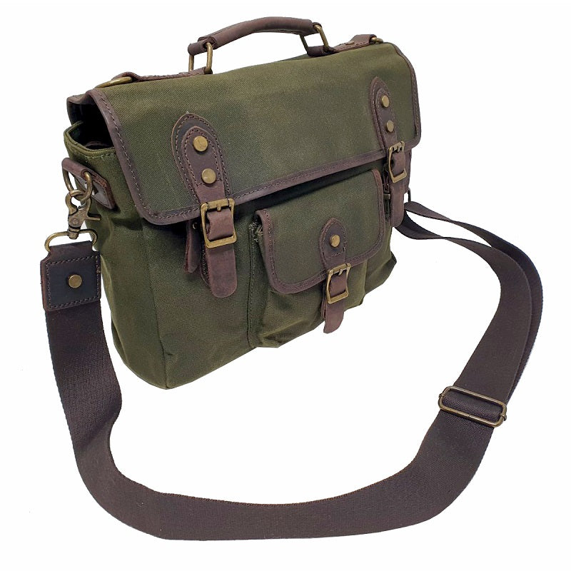 "Nomad 15"" Forrest Waxed Canvas and Leather Satchel Weather Proof Laptop Bag - The Leather Trading Co."