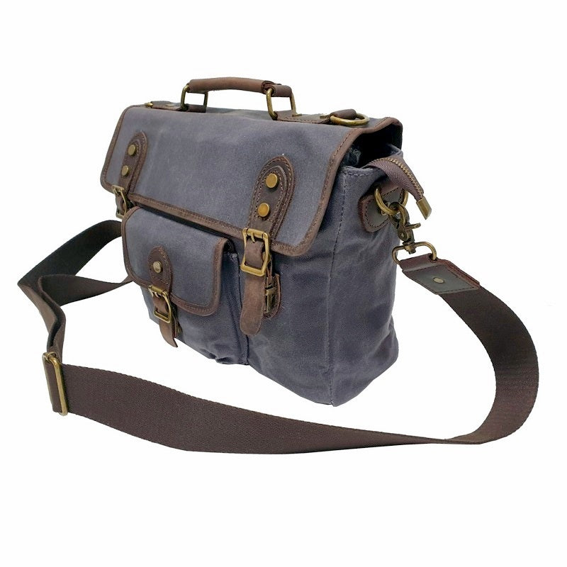 "Nomad 15"" Grey Waxed Canvas and Leather Satchel Weather Proof Laptop Bag - The Leather Trading Co."