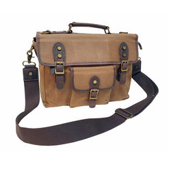 "Nomad 15"" Khaki Waxed Canvas and Leather Satchel Weather Proof Laptop Bag - The Leather Trading Co."