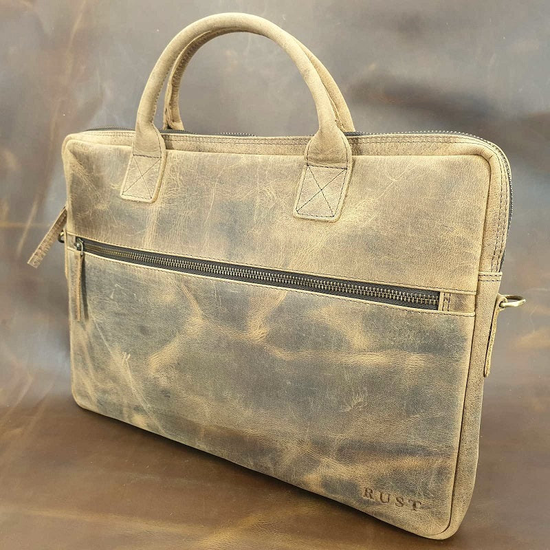 "Urban 15"" Buffalo Slim Leather Laptop Briefcase - The Leather Trading Co."