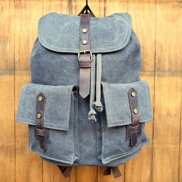 Navigator Canvas & Leather Backpack Rucksack