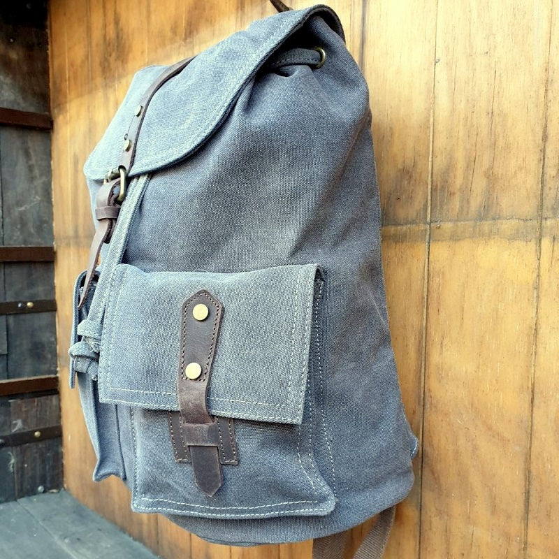 Navigator Canvas & Leather Backpack Rucksack - The Leather Trading Co.