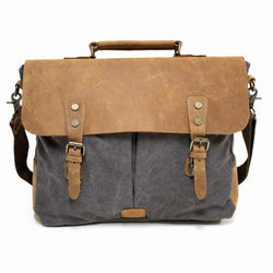 "Hercules 16"" Grey Canvas & Leather Laptop Messenger Satchel Bag - The Leather Trading Co."