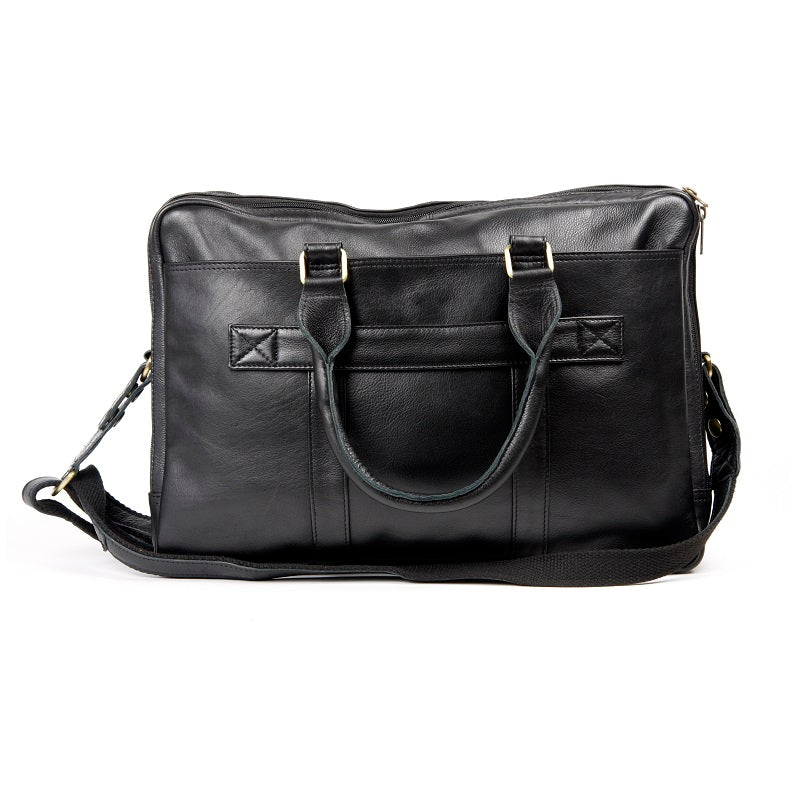 "Titan 16"" Cowhide Travel Double Compartment Work Laptop Bag - The Leather Trading Co."