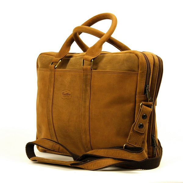 "Titan 16"" Buffalo Travel Double Compartment Work Laptop Bag - The Leather Trading Co."