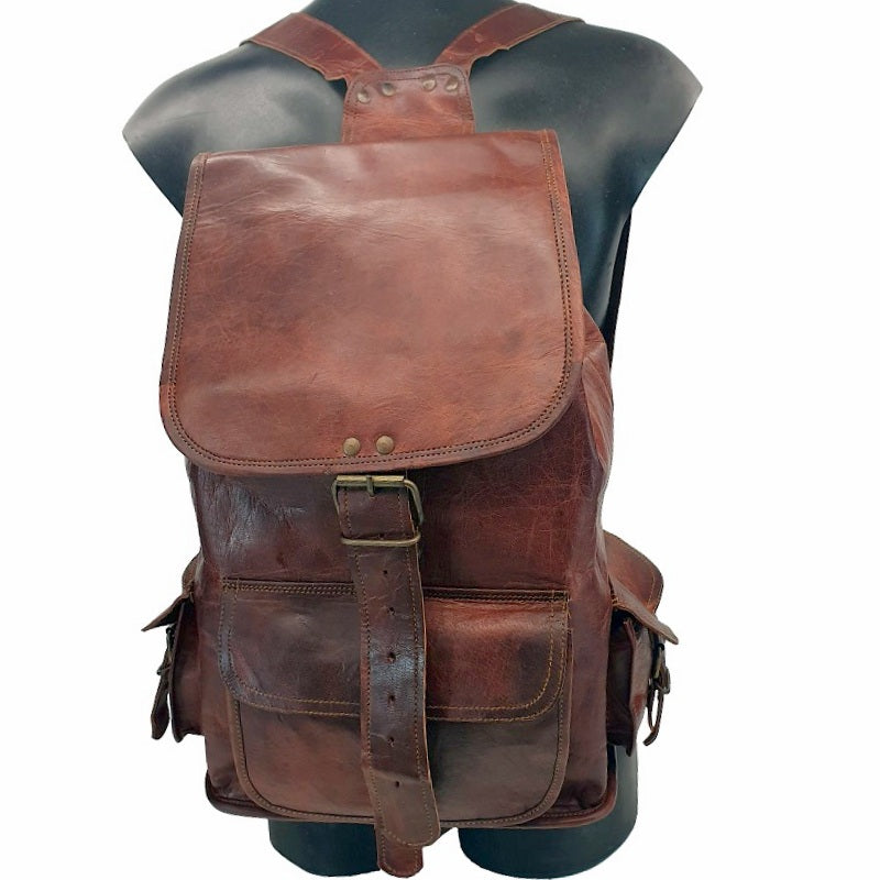 Rucksack 16″ Leather Draw String Backpack - The Leather Trading Co.