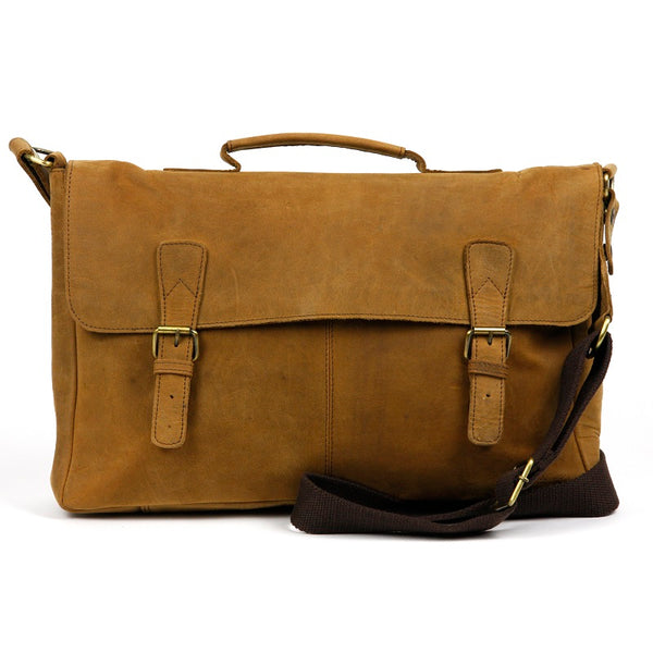 "Claude 16"" Buffalo Leather Messenger Bag - The Leather Trading Co."