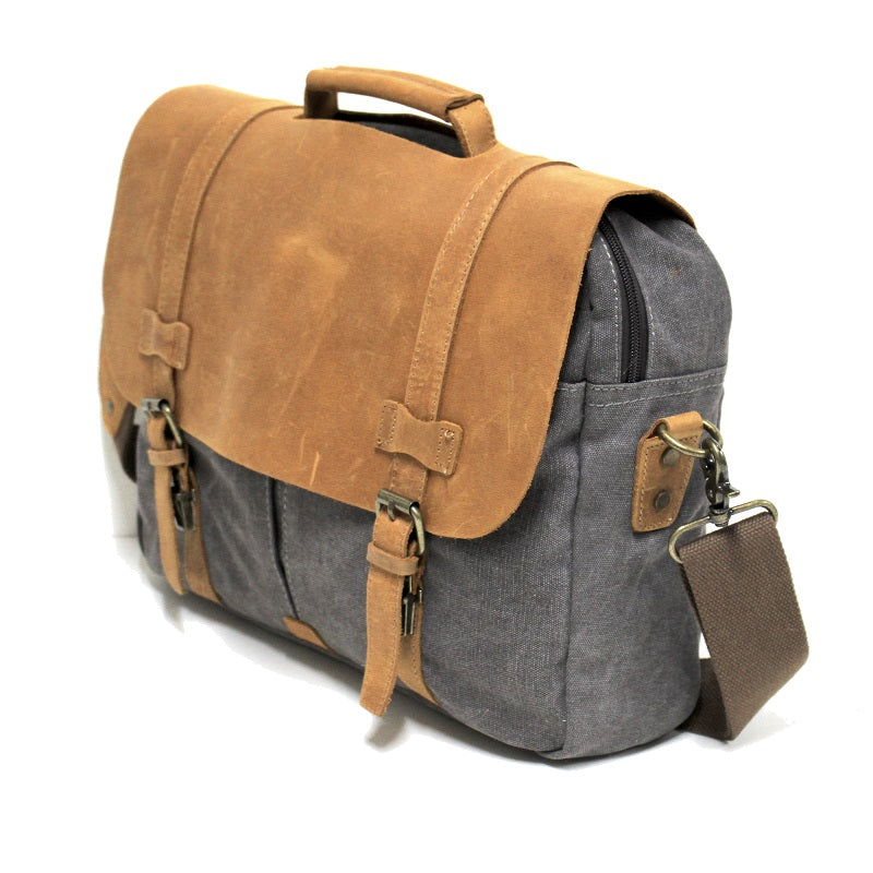 "Alaskan 16"" Grey Zipper Leather & Canvas Laptop Satchel Bag - The Leather Trading Co."