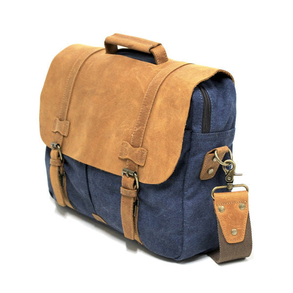 "Alaskan 16"" Navy Zipper Leather & Canvas Laptop Satchel Bag - The Leather Trading Co."