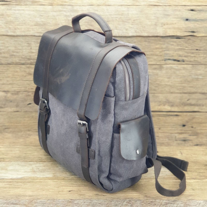 Metro 16 Inch Army Grey Canvas & Leather Metro Backpack - The Leather Trading Co.