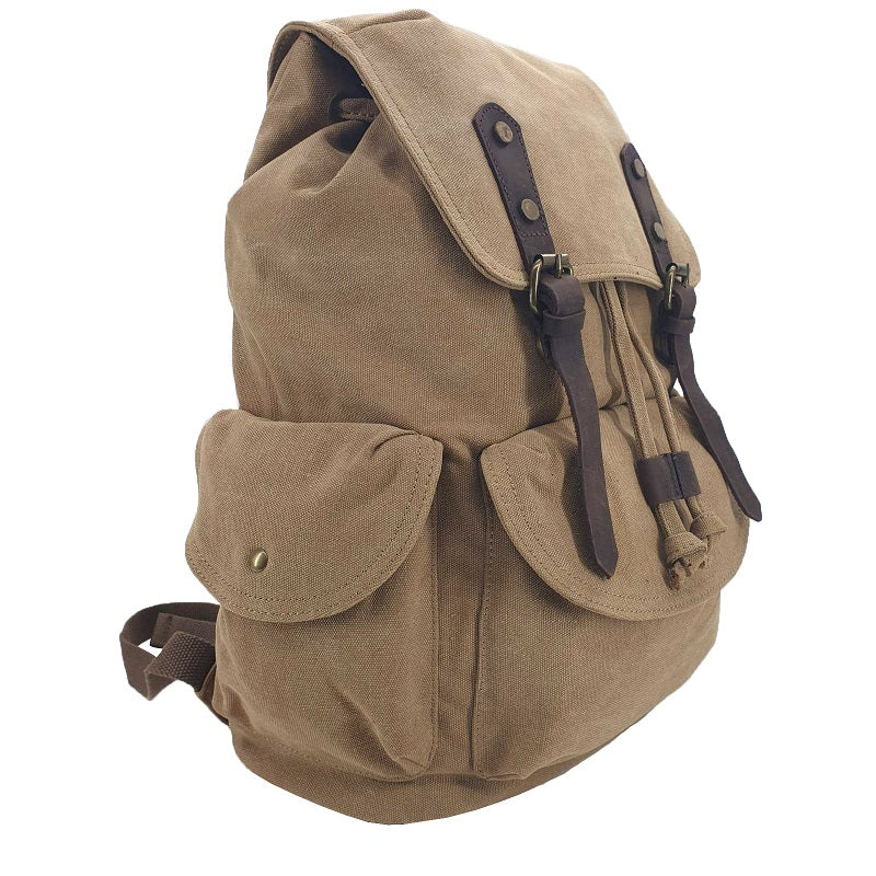 Kakoda 17 Inch Khaki Thick Canvas & Leather Travel Adventure Backpack Rucksack - The Leather Trading Co.