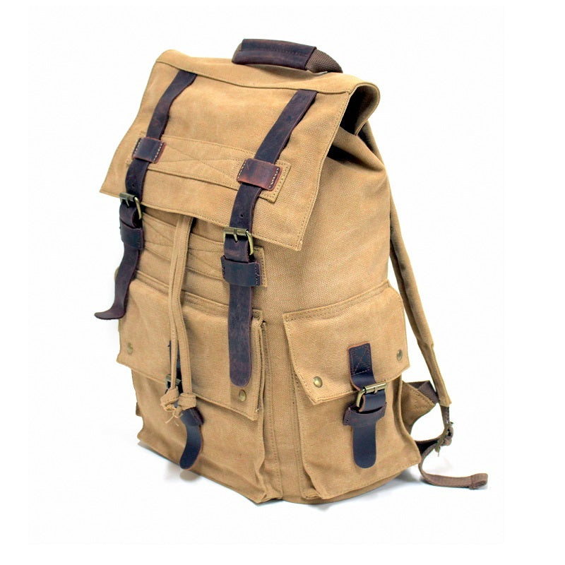 "Legend 17"" Khaki Canvas & Leather Adventurer Hiking Backpack - The Leather Trading Co."