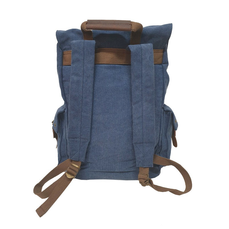 "Legend 17"" Navy Canvas & Leather Adventurer Hiking Backpack - The Leather Trading Co."