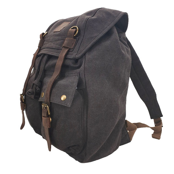 "Marco Polo 17"" Ash Black Thick Canvas & Leather Travel Adventure Rucksack - The Leather Trading Co."