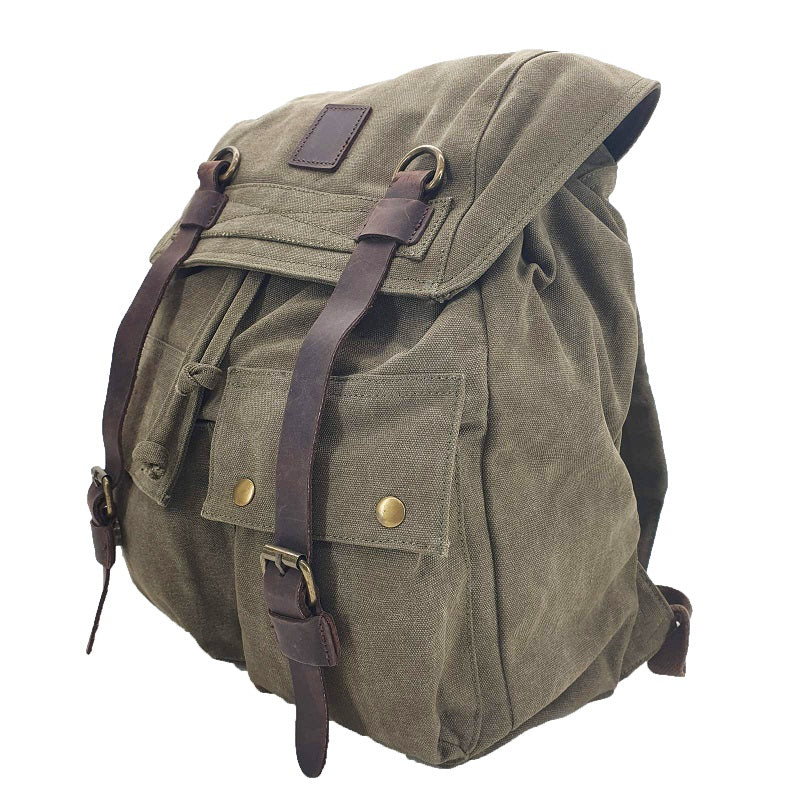 "Marco Polo 17"" Forrest Thick Canvas & Leather Travel Adventure Rucksack - The Leather Trading Co."
