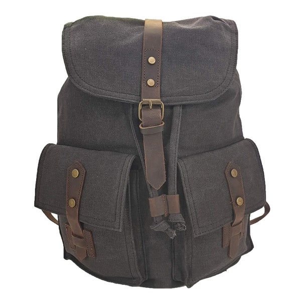"Inca 17"" Ash Black Thick Canvas & Leather Travel Adventure Rucksack - The Leather Trading Co."