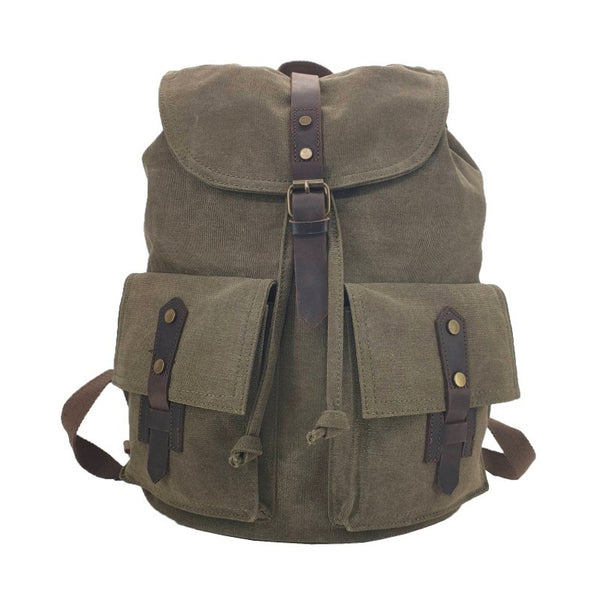 "Inca 17"" Green Thick Canvas & Leather Travel Adventure Rucksack - The Leather Trading Co."