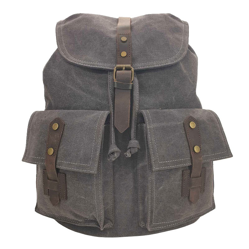 "Inca 17"" Grey Thick Canvas & Leather Travel Adventure Rucksack - The Leather Trading Co."