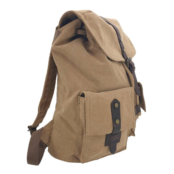 "Inca 17"" Khaki Thick Canvas & Leather Travel Adventure Rucksack - The Leather Trading Co."