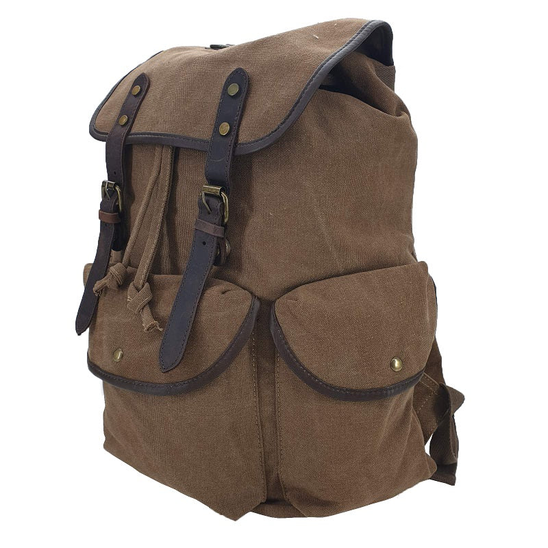 "Adler 17"" Army Khaki Thick Canvas & Leather Travel Adventure Rucksack - The Leather Trading Co."