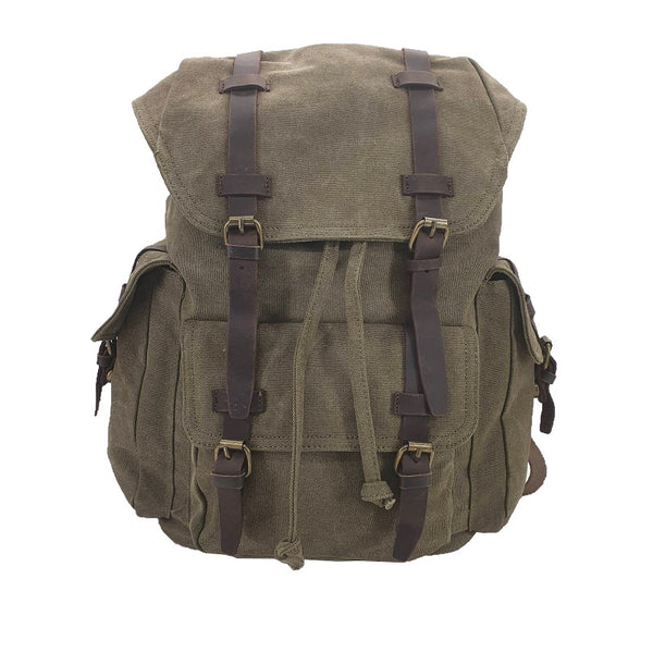 "Columbus 17"" Forrest Thick Canvas & Leather Travel Adventure Backpack Rucksack - The Leather Trading Co."