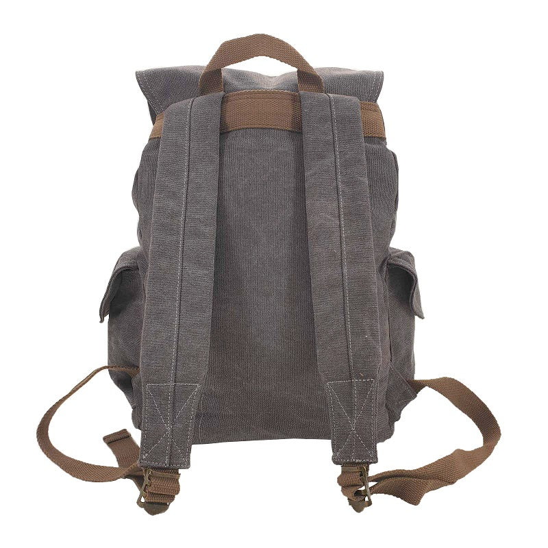 Kakoda 17 Inch Grey Thick Canvas & Leather Travel Adventure Backpack Rucksack - The Leather Trading Co.