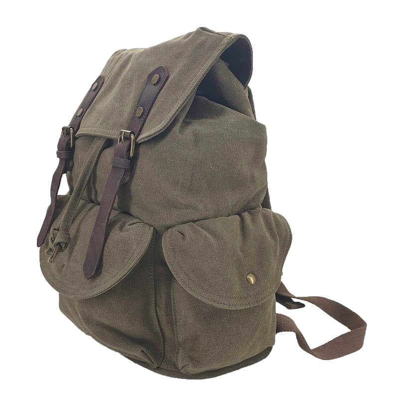 Kakoda 17 Inch Green Thick Canvas & Leather Travel Adventure Backpack Rucksack - The Leather Trading Co.