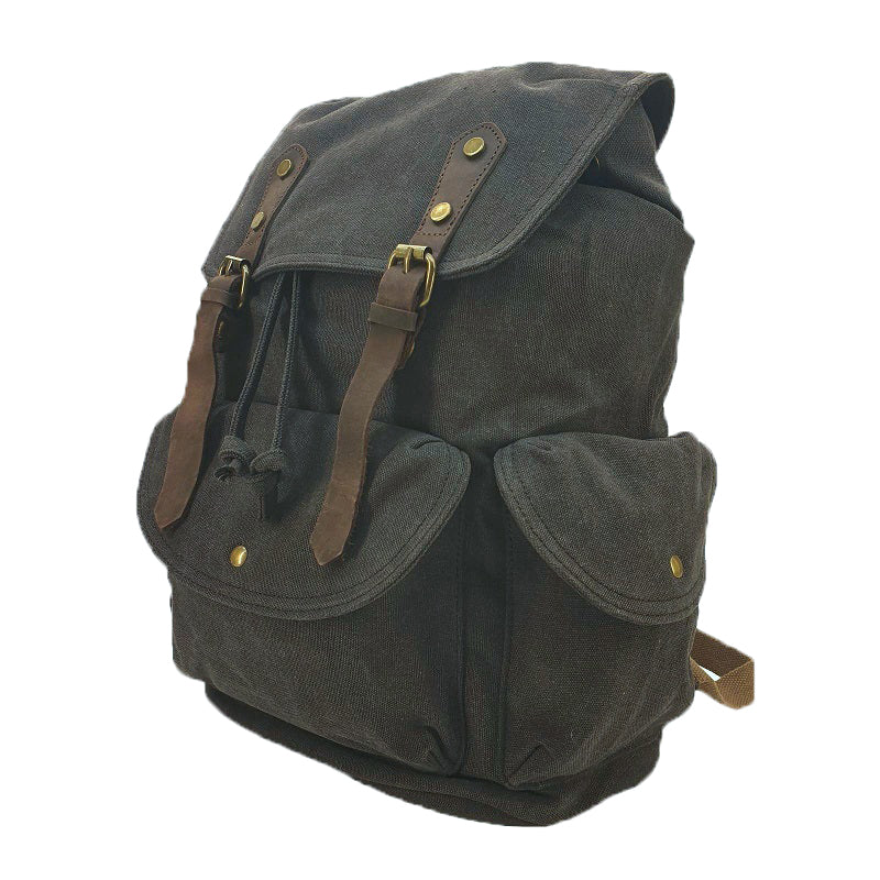 Kakoda 17 Inch Ash Black Thick Canvas & Leather Travel Adventure Backpack Rucksack - The Leather Trading Co.
