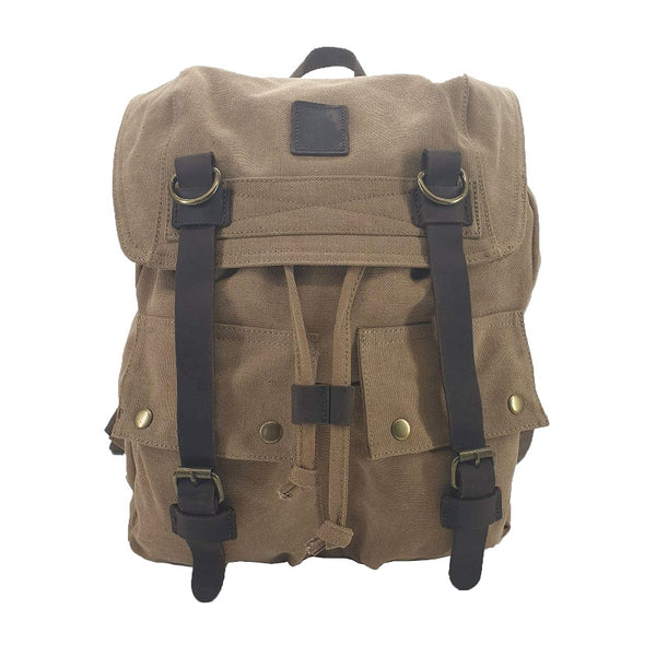 "Marco Polo 17"" Khaki Thick Canvas & Leather Travel Adventure Rucksack - The Leather Trading Co."
