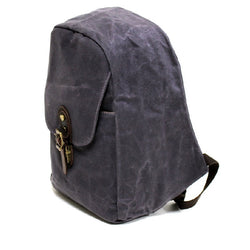 Secure 18″ Navy Weather Proof Waxed Canvas Backpack - The Leather Trading Co.