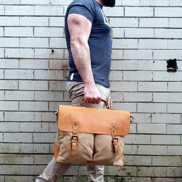 "Hercules 16"" Khaki Canvas & Leather Laptop Messenger Satchel Bag - The Leather Trading Co."