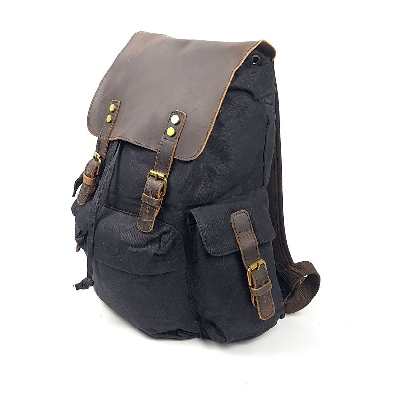 Harley 18″ Black Waxed Canvas Weather Proof Backpack with Leather Cover - The Leather Trading Co.