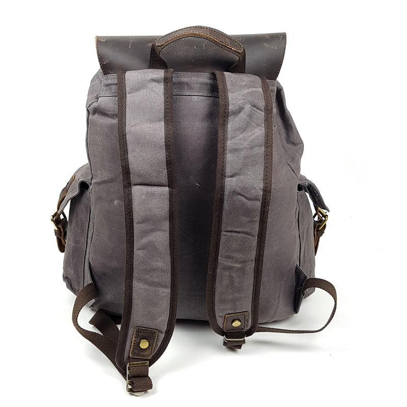 Harley 18″ Grey Waxed Canvas Weather Proof Backpack with Leather Cover - The Leather Trading Co.