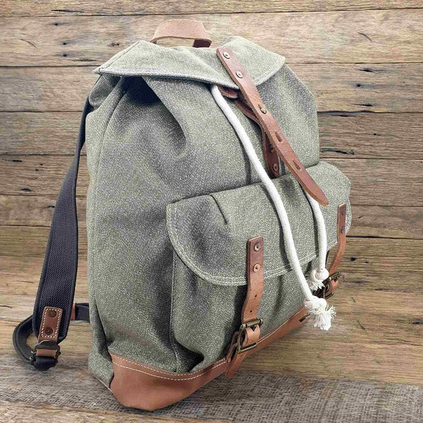 "The General 18"" Dark Army Green Heavy Duty  Canvas and Leather Rucksack Weather Resistant Backpack - The Leather Trading Co."