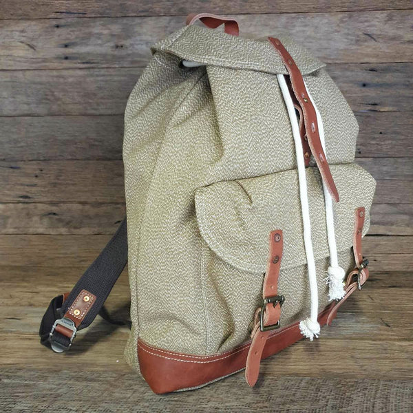 "The General 18"" Army Light Green Heavy Duty  Canvas and Leather Rucksack Weather Resistant Backpack - The Leather Trading Co."
