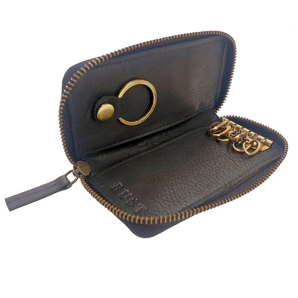 Porte-Clés - Black Cowhide Leather Key Chain Zip Pouch - The Leather Trading Co.