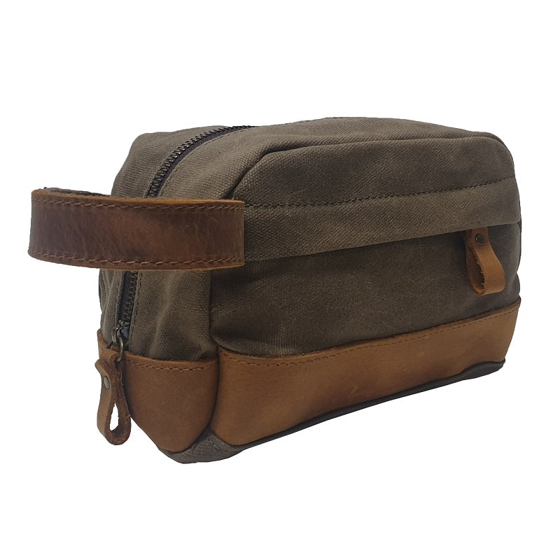 "Delta 9"" Green Canvas & Leather Toiletry Travel Zip Case - The Leather Trading Co."