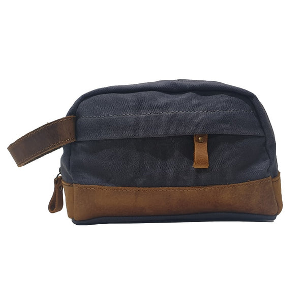 "Delta 9"" Grey Canvas & Leather Toiletry Travel Zip Case - The Leather Trading Co."
