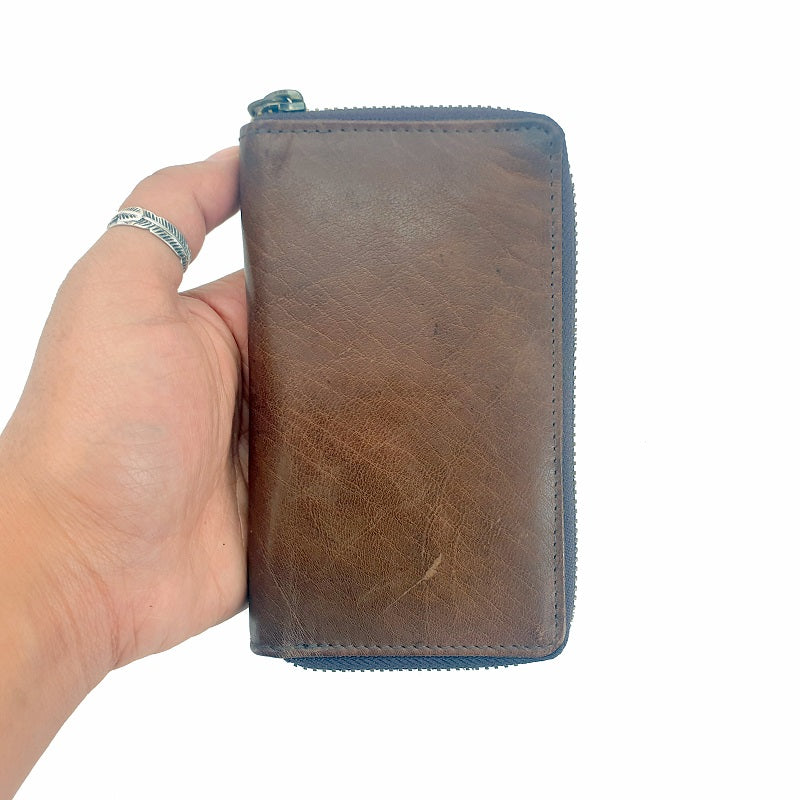 Roman - Tan Calf Portrait Leather Zip Wallet - The Leather Trading Co.