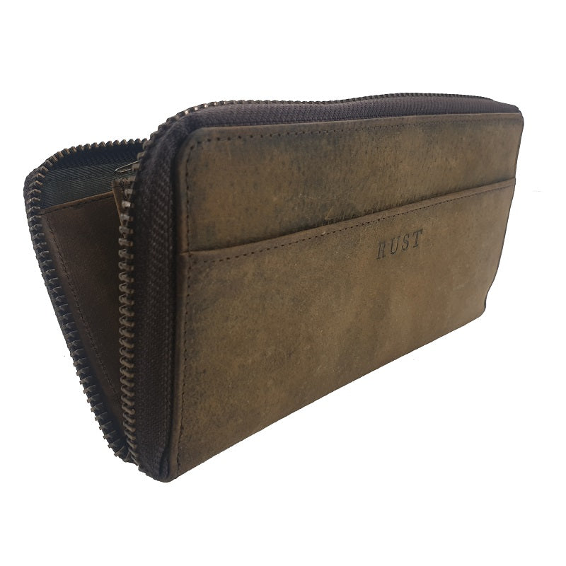Isabella – Buffalo Long Zipper Leather Wallet - The Leather Trading Co.