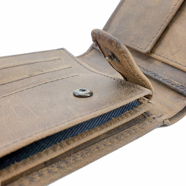 Terroir - Buffalo Large 4Fold Button Leather Wallet - The Leather Trading Co.