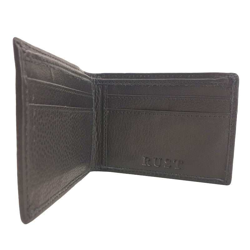 Monedas – Cowhide Black Bi-Fold Leather Wallet - The Leather Trading Co.