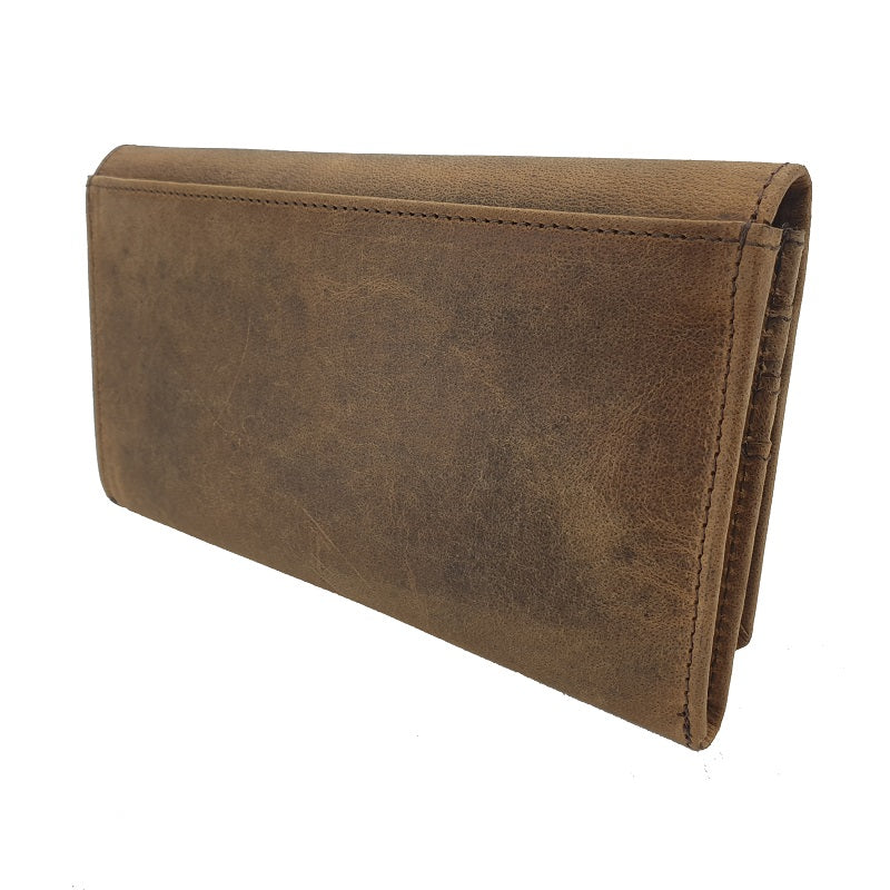 Armada – Buffalo Women's Long Wallet with Button - The Leather Trading Co.