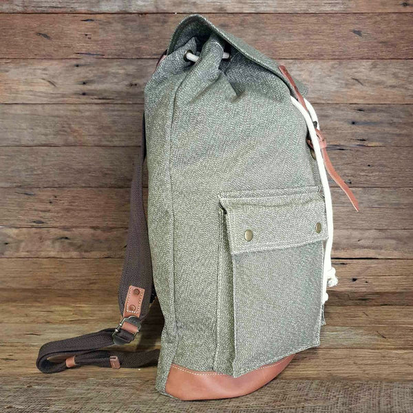 "The Arctic 20"" Army Green Heavy Duty  Canvas and Leather Rucksack Weather Resistant Backpack - The Leather Trading Co."