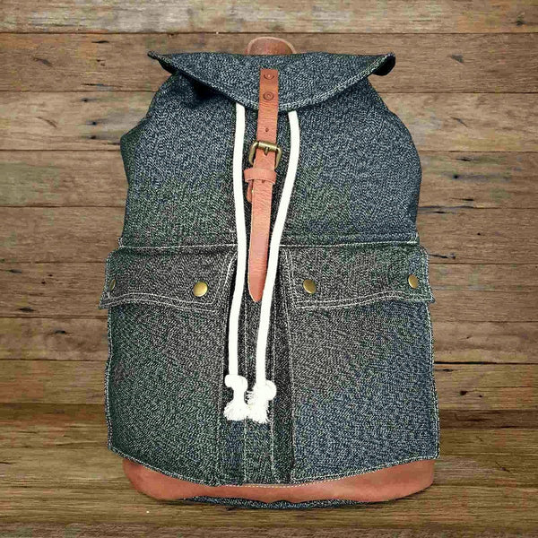 "The Arctic 20"" Black Heavy Duty  Canvas and Leather Rucksack Weather Resistant Backpack - The Leather Trading Co."