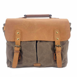 "Tarzan 14"" Waxed Green Canvas & Buffalo Leather Cover Weather Proof Laptop Bag - The Leather Trading Co."