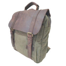 "Metropolis 13"" Green Washed Canvas Backpack - The Leather Trading Co."
