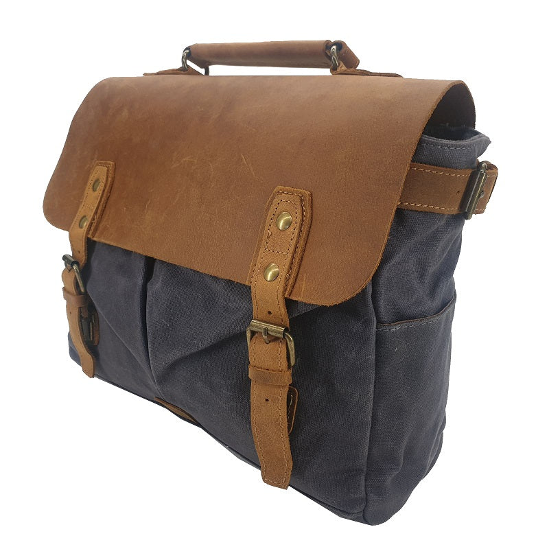 "Tarzan 14"" Waxed Grey Canvas & Buffalo Leather Cover Weather Proof Laptop Bag - The Leather Trading Co."